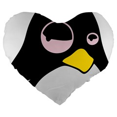 Lazy Linux Tux Penguin 19  Premium Heart Shape Cushion by youshidesign