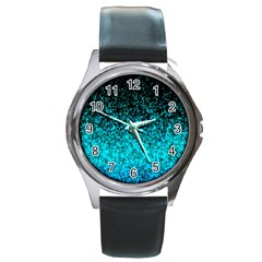 Glitter Dust 1 Round Leather Watch (silver Rim) by MedusArt