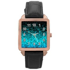 Glitter Dust 1 Rose Gold Leather Watch  by MedusArt
