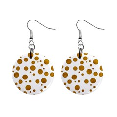Tan Polka Dots Mini Button Earrings by Colorfulart23