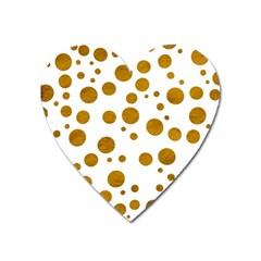 Tan Polka Dots Magnet (heart) by Colorfulart23