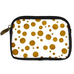 Tan Polka Dots Digital Camera Leather Case by Colorfulart23