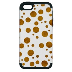 Tan Polka Dots Apple Iphone 5 Hardshell Case (pc+silicone)