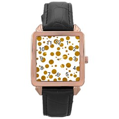 Tan Polka Dots Rose Gold Leather Watch  by Colorfulart23