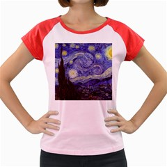 Vincent Van Gogh Starry Night Women s Cap Sleeve T Shirt (colored) by MasterpiecesOfArt