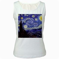 Vincent Van Gogh Starry Night Womens  Tank Top (white) by fineartgallery