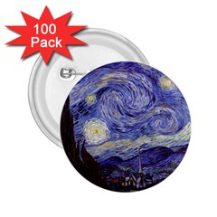Vincent Van Gogh Starry Night 2 25  Button (100 Pack) by MasterpiecesOfArt