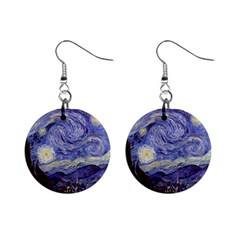Vincent Van Gogh Starry Night Mini Button Earrings by MasterpiecesOfArt