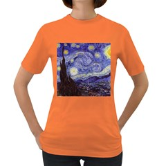 Vincent Van Gogh Starry Night Womens' T Shirt (colored) by MasterpiecesOfArt