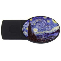 Vincent Van Gogh Starry Night 4gb Usb Flash Drive (oval) by fineartgallery