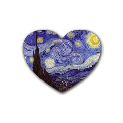 Vincent Van Gogh Starry Night Drink Coasters 4 Pack (heart)  by fineartgallery