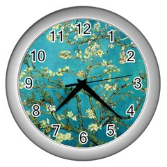 Vincent Van Gogh Blossoming Almond Tree Wall Clock (silver) by MasterpiecesOfArt