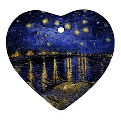 Vincent Van Gogh Starry Night Over The Rhone Heart Ornament by fineartgallery