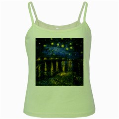 Vincent Van Gogh Starry Night Over The Rhone Green Spaghetti Tank by MasterpiecesOfArt