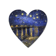 Vincent Van Gogh Starry Night Over The Rhone Magnet (heart) by fineartgallery