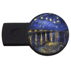 Vincent Van Gogh Starry Night Over The Rhone 2gb Usb Flash Drive (round) by MasterpiecesOfArt