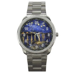 Vincent Van Gogh Starry Night Over The Rhone Sport Metal Watch by MasterpiecesOfArt