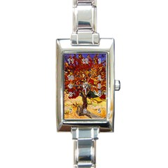 Vincent Van Gogh Mulberry Tree Rectangular Italian Charm Watch by MasterpiecesOfArt