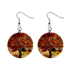 Vincent Van Gogh Mulberry Tree Mini Button Earrings by MasterpiecesOfArt