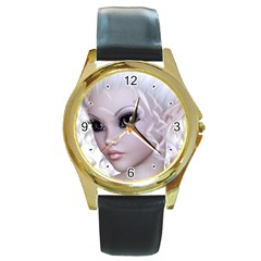 Fairy Elfin Elf Nymph Faerie Round Leather Watch (gold Rim)  by goldenjackal