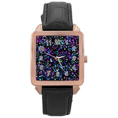 Glitter 1 Rose Gold Leather Watch  by MedusArt