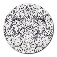 Drawing Floral Doodle 1 8  Mouse Pad (round) by MedusArt