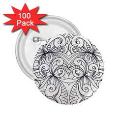 Drawing Floral Doodle 1 2 25  Button (100 Pack) by MedusArt