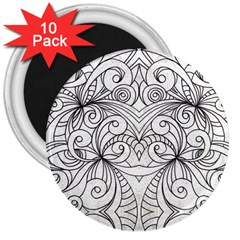 Drawing Floral Doodle 1 3  Button Magnet (10 Pack) by MedusArt