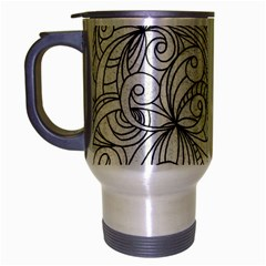Drawing Floral Doodle 1 Travel Mug (silver Gray) by MedusArt
