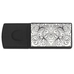 Drawing Floral Doodle 1 4gb Usb Flash Drive (rectangle) by MedusArt