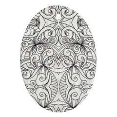 Drawing Floral Doodle 1 Oval Ornament (two Sides)