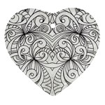 Drawing Floral Doodle 1 Heart Ornament (Two Sides) Front