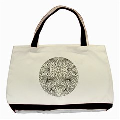 Drawing Floral Doodle 1 Twin Sided Black Tote Bag by MedusArt