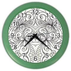 Drawing Floral Doodle 1 Wall Clock (color) by MedusArt