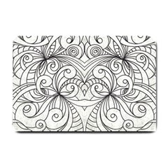 Drawing Floral Doodle 1 Small Door Mat by MedusArt