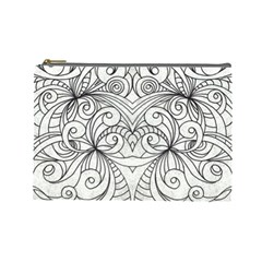 Drawing Floral Doodle 1 Cosmetic Bag (large) by MedusArt