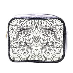 Drawing Floral Doodle 1 Mini Travel Toiletry Bag (one Side) by MedusArt