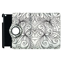 Drawing Floral Doodle 1 Apple Ipad 3/4 Flip 360 Case by MedusArt