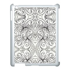 Drawing Floral Doodle 1 Apple Ipad 3/4 Case (white) by MedusArt