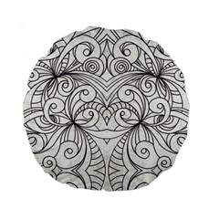 Drawing Floral Doodle 1 15  Premium Round Cushion  by MedusArt