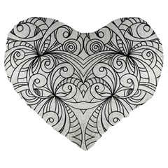 Drawing Floral Doodle 1 19  Premium Heart Shape Cushion by MedusArt