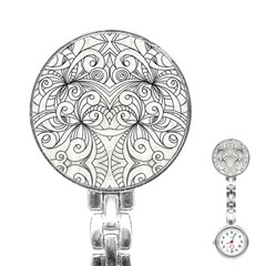 Drawing Floral Doodle 1 Stainless Steel Nurses Watch by MedusArt