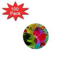 Floral Abstract 1 1  Mini Button Magnet (100 Pack) by MedusArt