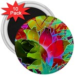 Floral Abstract 1 3  Button Magnet (10 pack) Front