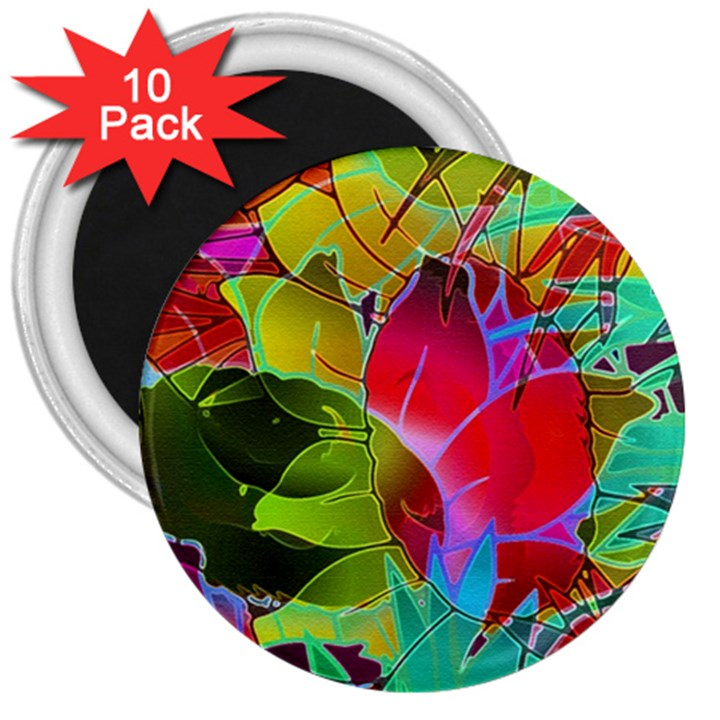 Floral Abstract 1 3  Button Magnet (10 pack)