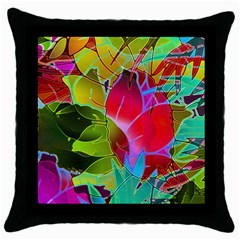 Floral Abstract 1 Black Throw Pillow Case by MedusArt