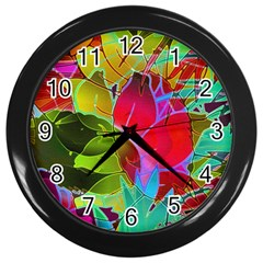 Floral Abstract 1 Wall Clock (black) by MedusArt