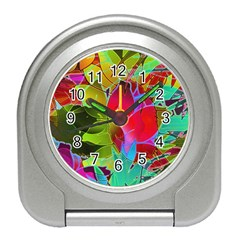 Floral Abstract 1 Desk Alarm Clock by MedusArt