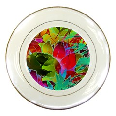 Floral Abstract 1 Porcelain Display Plate by MedusArt