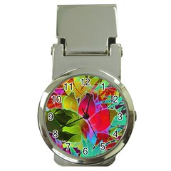 Floral Abstract 1 Money Clip With Watch by MedusArt
